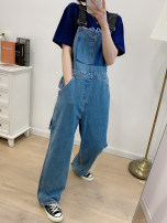 Jeans Spring 2021 Denim blue S,M,L trousers High waist Wide legged trousers routine 25-29 years old washing Cotton denim 3.22 f1xg51 suspenders 7275 96% and above