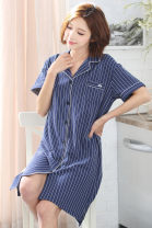 Nightdress Xuan Liang Royal Blue 160(M),165(L),170(XL),175(XXL),180(XXXL) Sweet Short sleeve pajamas Middle-skirt summer stripe youth Small lapel cotton Button decoration More than 95% pure cotton