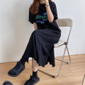 Dress Autumn 2020 Black, dark blue Average size longuette singleton  Short sleeve Crew neck Loose waist letter Socket routine Others Type H Other / other 81% (inclusive) - 90% (inclusive) other cotton