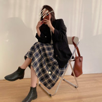 skirt Autumn 2020 Average size Decor Mid length dress commute High waist Umbrella skirt lattice Type A 25-29 years old 91% (inclusive) - 95% (inclusive) Other / other polyester fiber Korean version