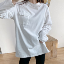 T-shirt White, black, grey Average size Spring 2021 Long sleeves Crew neck easy Regular routine commute cotton 96% and above 25-29 years old originality Solid color Other / other