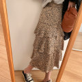 skirt Autumn 2020 M, L khaki Mid length dress commute High waist Cake skirt Leopard Print Type A 25-29 years old More than 95% Other / other polyester fiber