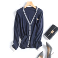 Wool knitwear Autumn of 2018 M L White black Navy Long sleeves singleton  Cardigan other 31% (inclusive) - 50% (inclusive) Regular Thin money Sweet Straight cylinder V-neck Single breasted Three dimensional decorative embroidery college