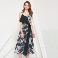 Dress Spring of 2018 black S,M,L,XL Mid length dress singleton  Sleeveless street V-neck High waist other zipper One pace skirt other camisole 18-24 years old Type A 81% (inclusive) - 90% (inclusive) other other Europe and America