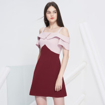 Dress Spring of 2018 Color matching S. M, l, XL, support customized, consult customer service Middle-skirt singleton  Short sleeve street One word collar High waist Solid color zipper A-line skirt routine camisole 18-24 years old Type A other other Europe and America