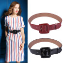 Belt / belt / chain Double skin leather Red, black female belt Simplicity Single loop Middle age, youth, youth Pin buckle Geometric pattern Patent leather 4.5cm alloy Naked, color contrast V470 98cm