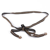 Belt / belt / chain Metal Black, black gold, white gold female Waist chain leisure time Single loop Youth, youth, middle age Geometric pattern soft surface 1.5cm alloy Contrast, fringes, lace V954 145cm