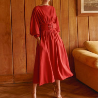 Dress Spring 2021 gules S,M,L longuette singleton  Long sleeves commute Crew neck High waist Solid color Socket A-line skirt bishop sleeve 30-34 years old Type A Simplicity pocket S2020010505