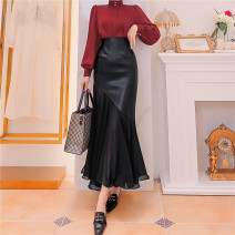skirt Autumn 2020 S,M,L black longuette Versatile High waist Ruffle Skirt Solid color Type X 71% (inclusive) - 80% (inclusive) other Queen's family other