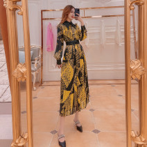 Dress Spring 2021 Yellow black M,L,XL longuette singleton  Long sleeves commute High waist Big swing routine Others printing L21792 31% (inclusive) - 50% (inclusive) other