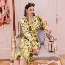 Dress Spring 2021 Graph color S,M,L Mid length dress singleton  Long sleeves commute High waist Decor Others Queen's family Korean version 51% (inclusive) - 70% (inclusive) other other