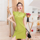 Dress Summer 2021 Black, red, mustard green XS,S,M,L,XL Short skirt singleton  Short sleeve commute stand collar High waist Solid color zipper other Flying sleeve Others 25-29 years old Type H Queen's family Ol style 71% (inclusive) - 80% (inclusive) other other
