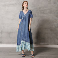 Dress Summer 2020 Tannin M,L,XL longuette singleton  Short sleeve V-neck Loose waist Solid color Socket A-line skirt routine Others 25-29 years old Liao's Keer qiaowa Stitching, printing, asymmetry, pocket A82138 other