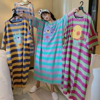 Nightdress Other / other Pink Blue Striped lamb, rose green striped big head dog, purple blue striped bear, yellow blue striped rabbit, Rose Blue Striped dog, the design is authorized, and the thief complains directly Average size Sweet Short sleeve Leisure home longuette summer stripe youth cotton