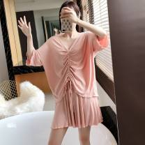 Pajamas / housewear set female Other / other Average size Pink, grey, purple cotton Short sleeve Simplicity Leisure home summer Thin money Crew neck Solid color shorts Socket youth 2 pieces rubber string More than 95% pure cotton