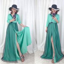Dress Autumn of 2019 Red, yellow, light green, blue, dark green L,XL,2XL,3XL