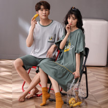 Pajamas / housewear set lovers Mulongnoble / Mulong family M L XL XXL XXXL cotton Short sleeve Cartoon Leisure home summer Crew neck Cartoon animation shorts Socket youth rubber string pure cotton printing Cotton 100% Summer 2021 Same model in shopping mall (sold online and offline) Middle-skirt