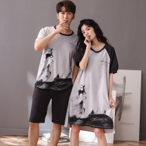 Pajamas / housewear set lovers Mulongnoble / Mulong family M L XL XXL XXXL 8122018 female picture color 9133018 male picture color cotton Short sleeve Cartoon summer Crew neck Cartoon animation shorts Socket youth 2 pieces rubber string pure cotton printing 8122018-9133018 Cotton 100% Summer 2021