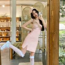 Dress Spring 2021 Pink, pink pre-sale S, M Short skirt singleton  Long sleeves commute One word collar High waist Solid color zipper other camisole 18-24 years old Type A Three pears lady Chain, mesh, stitching, open back, Sequin DL10013 51% (inclusive) - 70% (inclusive) other cotton