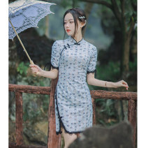 cheongsam Spring 2021 S (collection and purchase first delivery), m (collection and purchase first delivery), l (collection and purchase first delivery), XL (collection and purchase first delivery) Butterfly Love Short sleeve Short cheongsam Retro daily Oblique lapel Broken flowers 18-25 years old