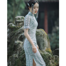 cheongsam Spring 2021 Iraqis Short sleeve long cheongsam grace High slit daily Oblique lapel Solid color 18-25 years old Piping