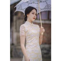 cheongsam Spring 2021 S,M,L,XL,XXL,XXXL Falling flowers Short sleeve long cheongsam literature High slit daily Oblique lapel Decor 18-25 years old Piping