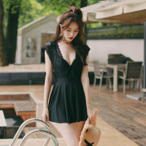 one piece  Ginger M L XL XXL black One piece flat corner swimsuit Steel strap breast pad Nylon spandex polyester J18117 Spring of 2019 female Sleeveless Casual swimsuit
