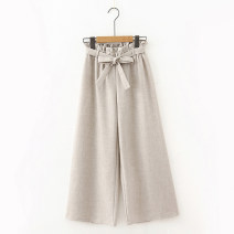 Casual pants Apricot, grey, black Average size Spring 2020 Ninth pants Wide leg pants Natural waist Sweet routine 18-24 years old 96% and above Other / other cotton belt cotton college