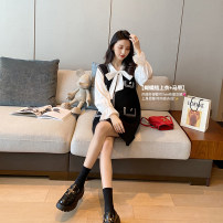 suit AROOM black suit  M, L Korean version Long sleeve + skirt spring and autumn routine Solid color N42-50 Cotton liner