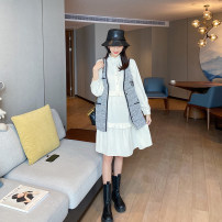 suit AROOM Rice + black suit M,L,XL,XXL Korean version Short sleeve + skirt spring and autumn routine Solid color N43-44 Cotton liner