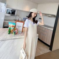 Dress AROOM Apricot, black L,XL Korean version Short sleeve Medium length summer Crew neck Solid color Lace N50-2