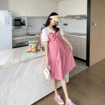 Dress AROOM Pink, blue M,L,XL Korean version Short sleeve Medium length summer V-neck Solid color cotton N50-33