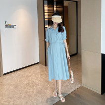 Dress AROOM Yellow, blue, black M, L Korean version Short sleeve have more cash than can be accounted for summer Lapel Solid color Chiffon N50-3