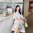 Dress AROOM Off white M,L,XL Korean version Short sleeve Medium length summer stand collar Decor Lace N50-27