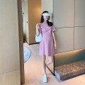 Dress AROOM Gray, pink, yellow, white, black M,L,XL Korean version Short sleeve Medium length summer Crew neck letter cotton N51-25