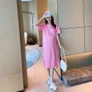 Dress AROOM Pink, black, yellow, gray M,L,XL Korean version Short sleeve have more cash than can be accounted for summer Crew neck Solid color cotton N51-20