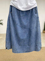 skirt Summer 2021 Average size Denim blue Mid length dress commute High waist other Solid color Type A 25-29 years old ED3162 81% (inclusive) - 90% (inclusive) Denim cotton Pockets, stitching Simplicity
