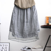 skirt Summer of 2018 Average size Light gray, white, black, khaki Middle-skirt commute High waist Splicing style Solid color Type A 25-29 years old ED6160 51% (inclusive) - 70% (inclusive) other hemp Pockets, stitching Retro