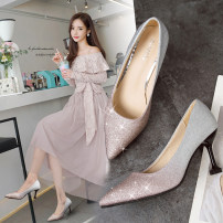 Low top shoes 35 36 37 38 39 Tim Shang Grey blue champagne Sharp point Fine heel PU Shallow mouth High heel (5-8cm) PU Summer of 2018 Trochanter Korean version Adhesive shoes Youth (18-40 years old) Color matching rubber Single shoes Shallow mouth PU daily R759