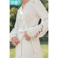 Dress Winter 2020 white S M L XL Mid length dress singleton  Long sleeves Sweet V-neck High waist Solid color Socket A-line skirt bishop sleeve 25-29 years old Type A Inman  Hollow out embroidered bandage 181_ TM1349a More than 95% cotton Cotton 100% Countryside