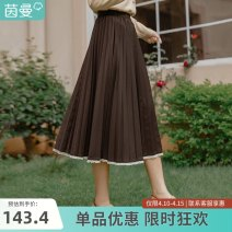 skirt Spring 2021 S M L Deep coffee brick red Mid length dress Versatile Natural waist A-line skirt Solid color Type A 18-24 years old F181_ TM1472a 71% (inclusive) - 80% (inclusive) Inman / Inman polyester fiber lace Polyester 79.6% viscose (viscose) 20.4%
