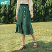 skirt Spring 2021 S M L Middle-skirt fresh Natural waist A-line skirt Solid color Type A 25-29 years old More than 95% Inman / Inman cotton Button panel Cotton 100% Same model in shopping mall (sold online and offline)