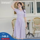 Dress Summer 2020 Roland purple bean green gauze powder S M L XL Mid length dress singleton  Short sleeve Sweet V-neck High waist lattice Single breasted A-line skirt 25-29 years old Type A Inman  bow 180_ TM2240a 51% (inclusive) - 70% (inclusive) cotton Cotton 60.1% polyester 39.9% solar system