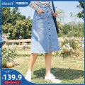 skirt Spring 2021 S M L XL Light denim Middle-skirt Versatile Natural waist A-line skirt Solid color Type A 25-29 years old 181_ TM1188a More than 95% other Inman / Inman cotton Button Cotton 100% Same model in shopping mall (sold online and offline)