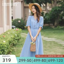 Dress Summer 2020 1 sea fog blue 1 ginger 1 off white 1812008 sea fog blue 1812008 off white S M L XL Mid length dress singleton  Short sleeve Sweet V-neck middle-waisted other Socket A-line skirt 25-29 years old Type A Inman  Lace 180_ TM2489a More than 95% cotton Cotton 100% Countryside