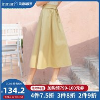 skirt Summer 2020 S M L XL khaki Mid length dress Versatile High waist A-line skirt Solid color Type A 25-29 years old 180_ TM2850a More than 95% other Inman / Inman cotton Cotton 100%