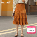 skirt Autumn 2020 S,M,L Dark brown, pale yellow, midnight black Mid length dress Versatile Natural waist Solid color Type A 25-29 years old 180_ TM3340a More than 95% other Inman / Inman Viscose Three dimensional decoration