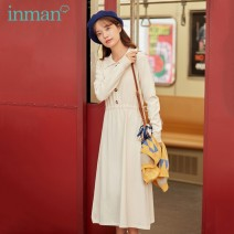 Dress Autumn 2020 Light apricot ashy blue S M L Mid length dress singleton  Long sleeves commute Polo collar High waist Solid color other A-line skirt routine 25-29 years old Type A Inman  literature Button F180_ TM3927a 51% (inclusive) - 70% (inclusive) other polyester fiber