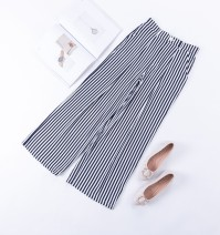 Casual pants Vertical stripe Summer of 2019 Ninth pants Wide leg pants High waist Sweet Thin money 96% and above Japanese original list other