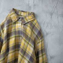 shirt Yellow, brown Average size Spring of 2019 hemp 81% (inclusive) - 90% (inclusive) Long sleeves commute Polo collar Single row multi button shirt sleeve lattice Straight cylinder literature Panels, pockets, buttons